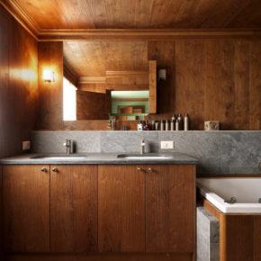 Bagno di casa in montagna in legno e pietra