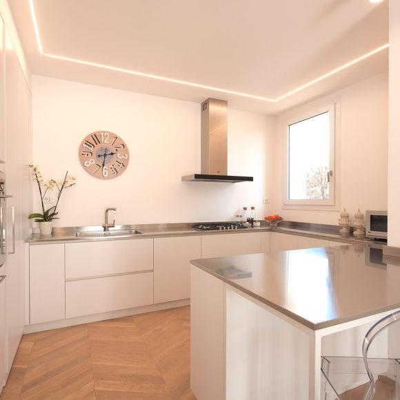Cucina artigianale moderna in laminato bianco. Botticino.